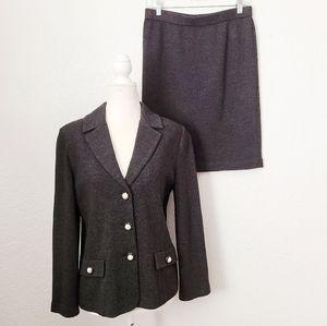 St. JOHN Collection Gray Knit 2 Piece Blazer Skirt